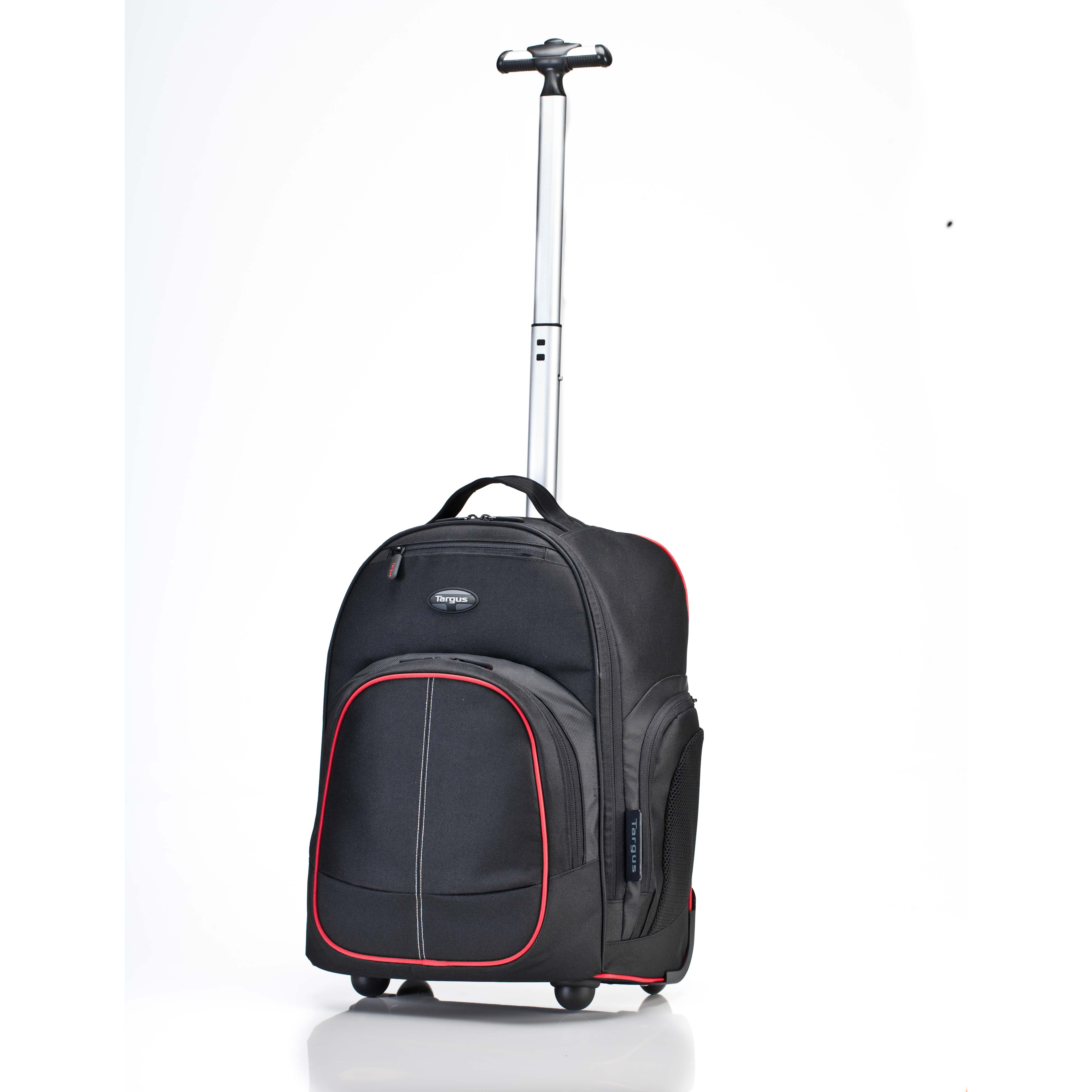 """16"""" Compact Rolling Backpack - TSB75001US - Black/Red Accent ..."""