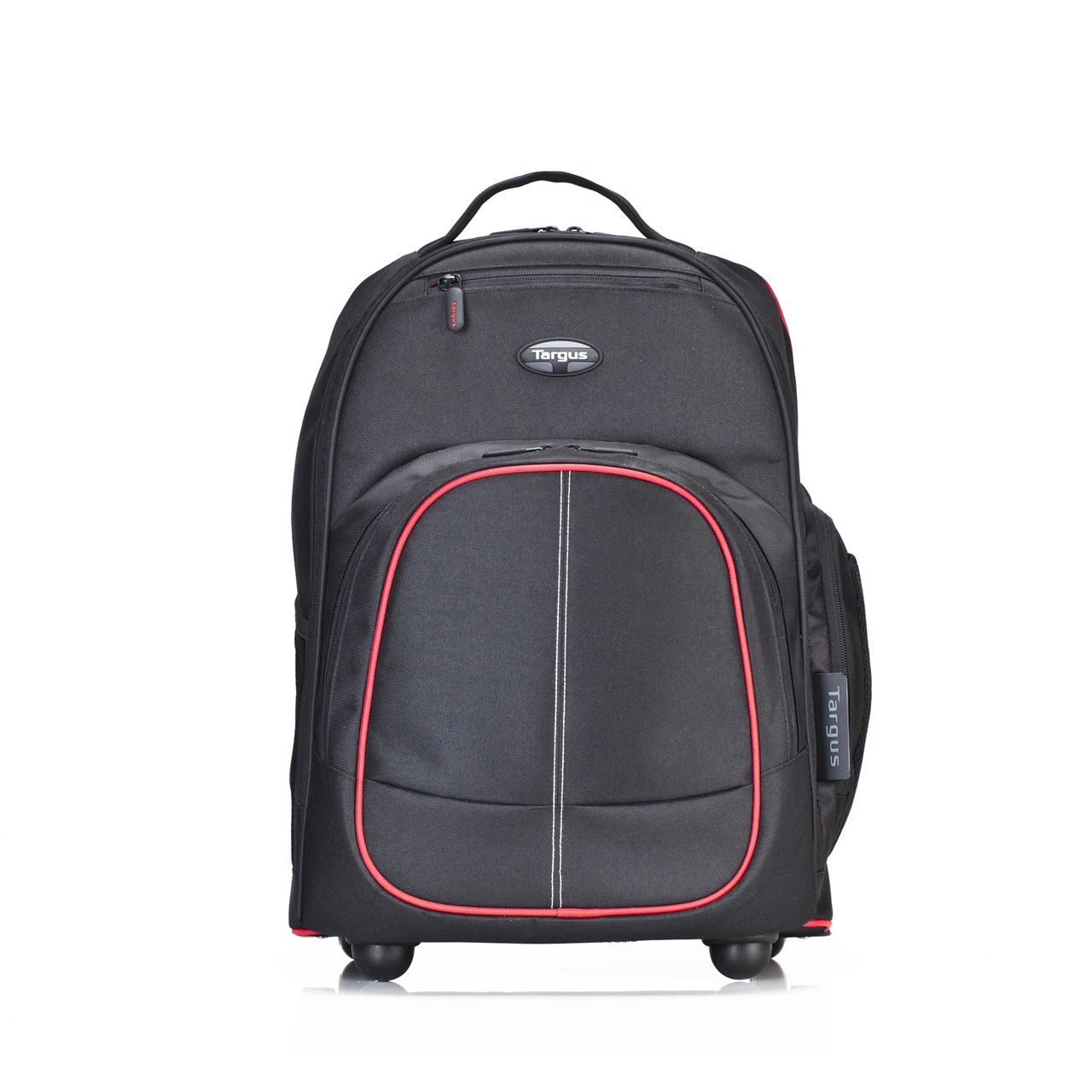 "16"" Compact Rolling Backpack - TSB75001US - Black/Red Accent ..."