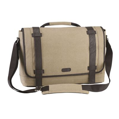 "Picture of City Fusion 15.6"" Canvas Laptop Messenger Bag - Beige"