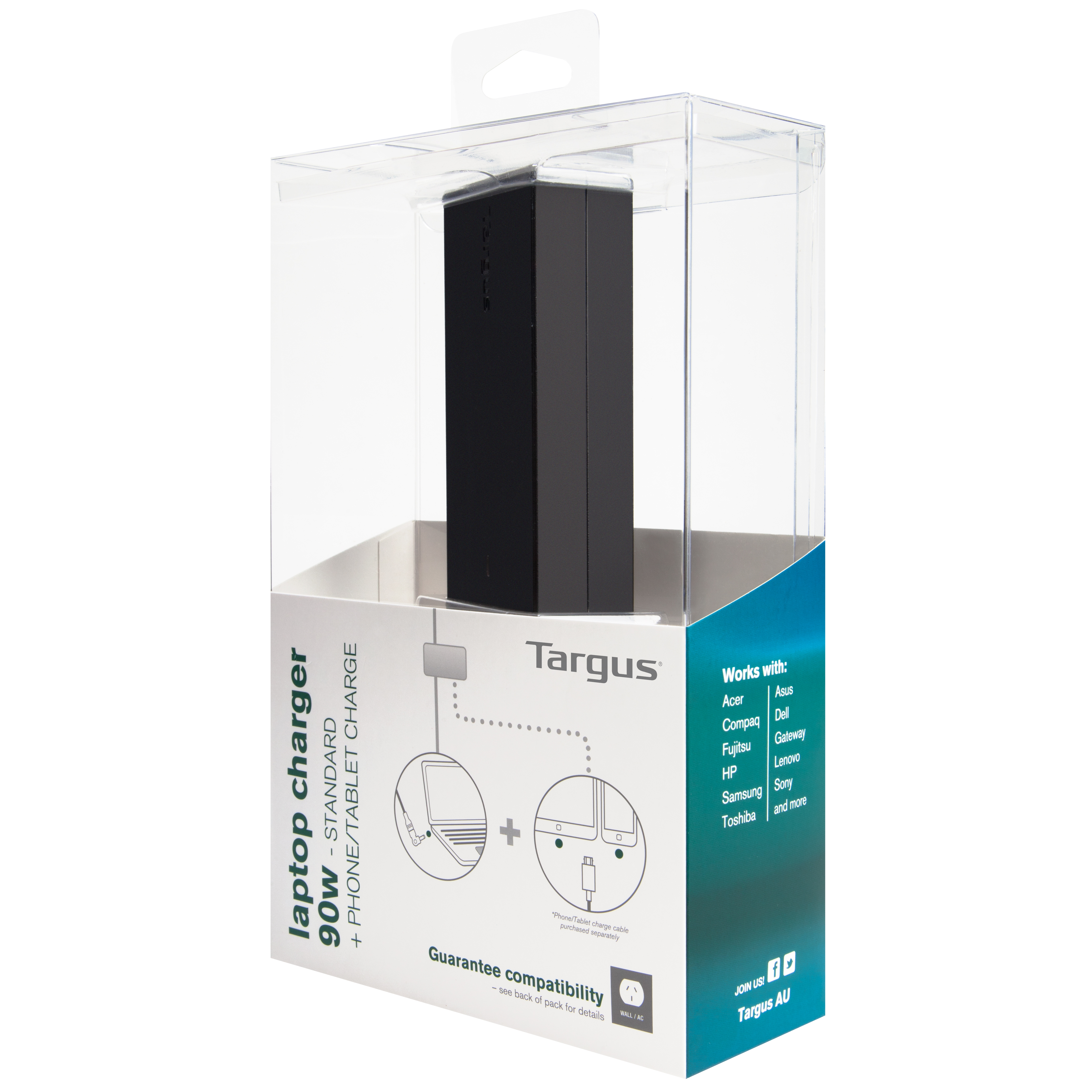 Picture of Targus 90W Standard Laptop Charger + Phone/Tablet Charge