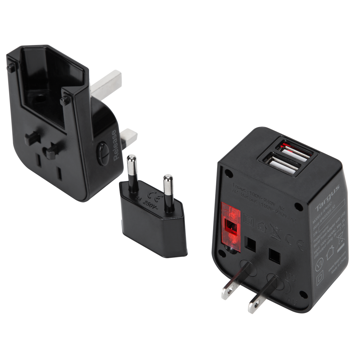 World Travel Power Adapter With Dual Usb Charging Ports