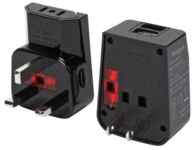 World Travel Power Adapter with Dual USB Charging Ports - (APK032US)