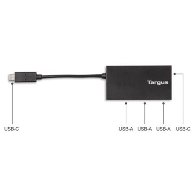Picture of USB-C Hub to 3 x USB-A & 1x USB-C - Black (B2B)