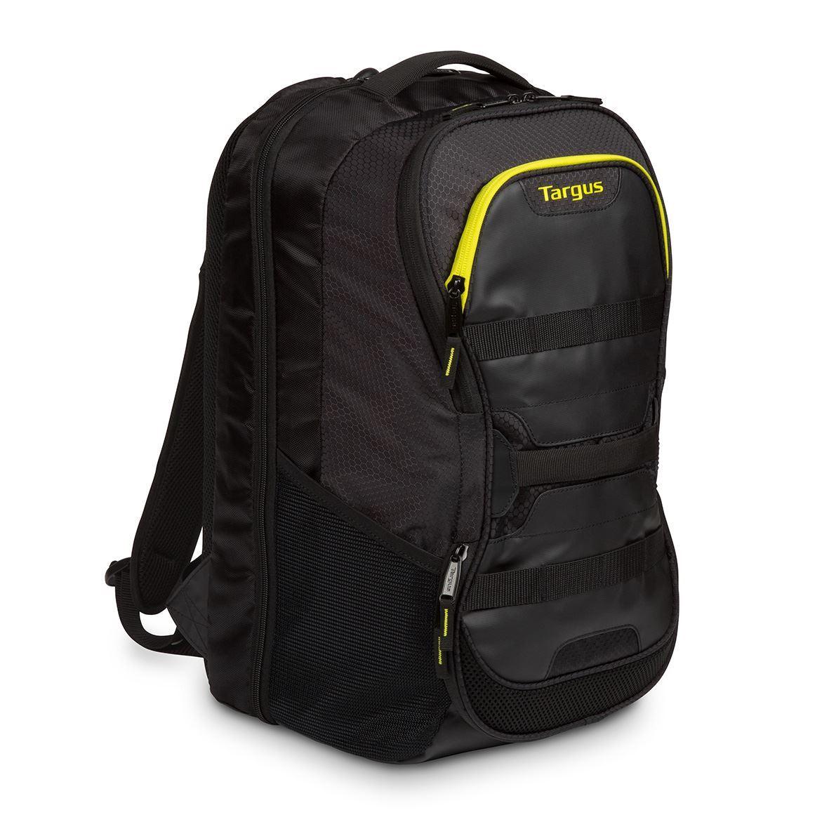 sac dos targus pour multisports pour ordinateur portable 15 6 noir jaune. Black Bedroom Furniture Sets. Home Design Ideas