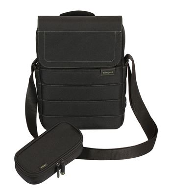"Picture of 12.1"" EcoSmart™ Emerald GREEN Messenger with Mirrorless Camera Pouch (Black)"