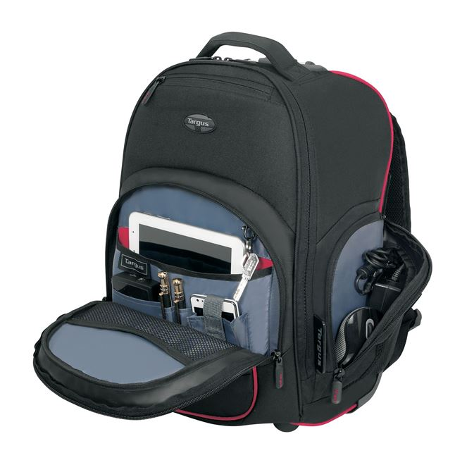 """16"""" Compact Rolling Backpack (Black/Red"""