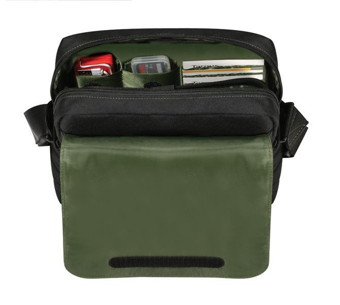 "12.1"" EcoSmart™ Emerald GREEN Messenger  with Mirrorless Camera Pouch (ブラック)の画像"