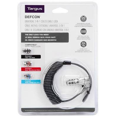 Imagen de Cierre de combinación personalizable con cable en espiral 3 en 1 DEFCON®